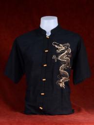 Linnen tropenshirt met dragon zwart