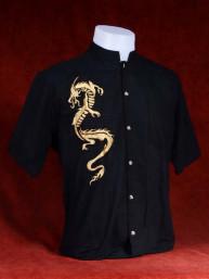 Exclusief Linnen tropenshirt met geborduurde draak zwart