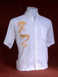 Exclusief Linnen tropenshirt met geborduurde draak wit