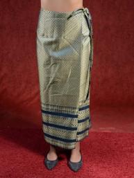 Traditionele Thaise satijnen omslagrok met gouddraad. Azuurblauw