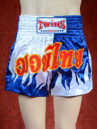 Originele Twins wedstrijd short Muay Thai blauw wit