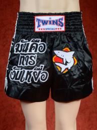 Originele Twins wedstrijd short Muay Thai Shark zwart