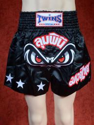 Originele Twins wedstrijd short Muay Thai No Fear, zwart