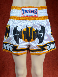 Originele Twins wedstrijd short Muay Thai Black bat on white