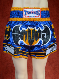 Originele Twins wedstrijd short Muay Thai black bat on blue