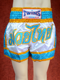 Originele Twins wedstrijd short Muay Thai Shine wit blauw