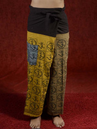Yoga - Meditatie broek Hindu met Om tekens kaki-camel