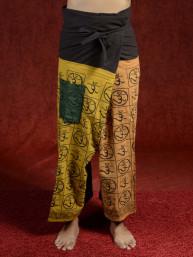 Yoga - Meditatie broek Hindu met Om tekens grijs-creme-kaki
