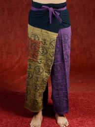 Yoga - Meditatie broek Hindu met Om tekens paars-kaki