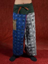 Yoga - Meditatie broek Hindu met Om tekens grijs-paars-blauw