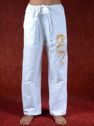 Tai chi broek met geborduurde draak wit linnen