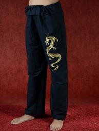 Tai chi broek met geborduurde draak zwart linnen