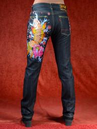 Geborduurde jeans Sugoi met Lotus en Koi