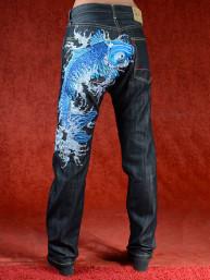 Geborduurde jeans Sugoi met blauwe Koikarper