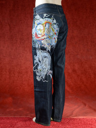 Geborduurde jeans Sugoi met Chinese draak en Oni