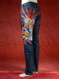 Geborduurde jeans Sugoi met Koi