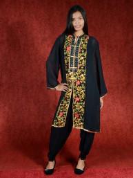 Salwar kameez, Indiase jurk of Punjabi dress zwart flowercord