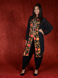 Salwar kameez, Indiase jurk of Punjabi dress black orange