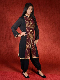 Salwar kameez, Indiase jurk of Punjabi dress zwart bordeaux
