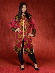 Salwar kameez, Indiase jurk of Punjabi dress rood goud