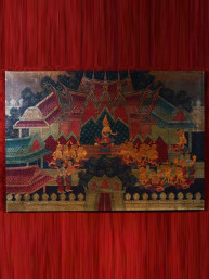 "Olieverf op canvas ""Bhuddha in temple"""