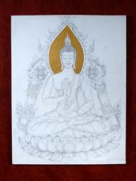 Potlood tekening op canvas van Boeddha
