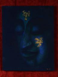 Schilderij met hoofd van Boeddha op canvas blauw