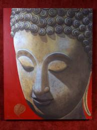 Schilderij met hoofd van Boeddha goud op rood