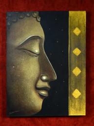 Schilderij met profiel hoofd van Boeddha