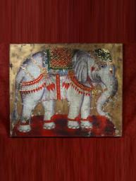 "Schilderij in olieverf en bladgoud ""Thaise olifant"""