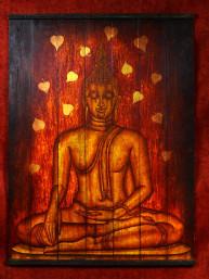 Schildering op houten paneel van Boeddha