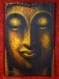 Schilderij met hoofd van Boeddha op houten paneel