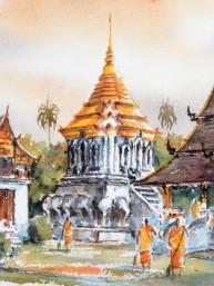 Aquarel Wat Chiang Man in Chiangmai
