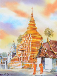 Aquarel Wat Phrathat Sri Chomthong Warawihan