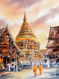Aquarel Wat Phra That Lampang Luang in Lampang