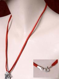 Lederen halskoord met zilveren sluiting