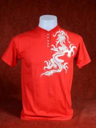 Shirt met zilveren Chinese Draak rood