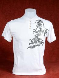 Shirt met zilveren Chinese Draak wit