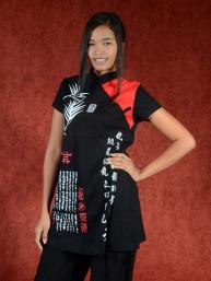 Shirt Bamboe script zwart-rood