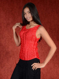 Spandex stretch top rood