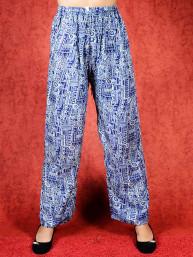 Tai chi broek met touwtje galaxy print donker blauw