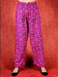 Tai chi broek met touwtje himalaya print roze