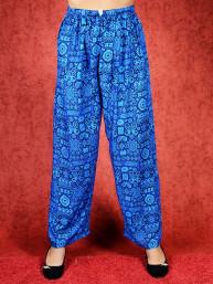 Tai chi broek met touwtje himalaya print blauw