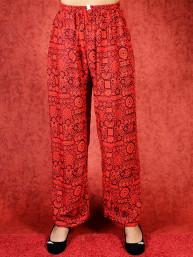 Tai chi broek met touwtje himalaya print rood