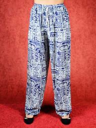 Tai chi broek met touwtje universe print donker blauw