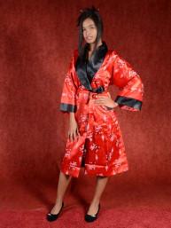 Satijnen Kimono tweezijdig draagbaar Rood - Zwart