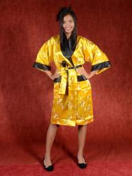 Satijnen Kimono tweezijdig draagbaar Geel - Zwart