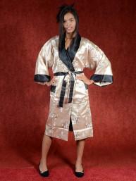 Satijnen Kimono tweezijdig draagbaar Goud - Zwart