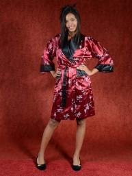 Satijnen Kimono tweezijdig draagbaar Maroon - Zwart M