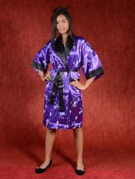 Satijnen Kimono tweezijdig draagbaar Paars - Zwart